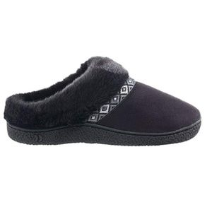 NEW ISOTONER Microsued Hoodback Slipper Black S